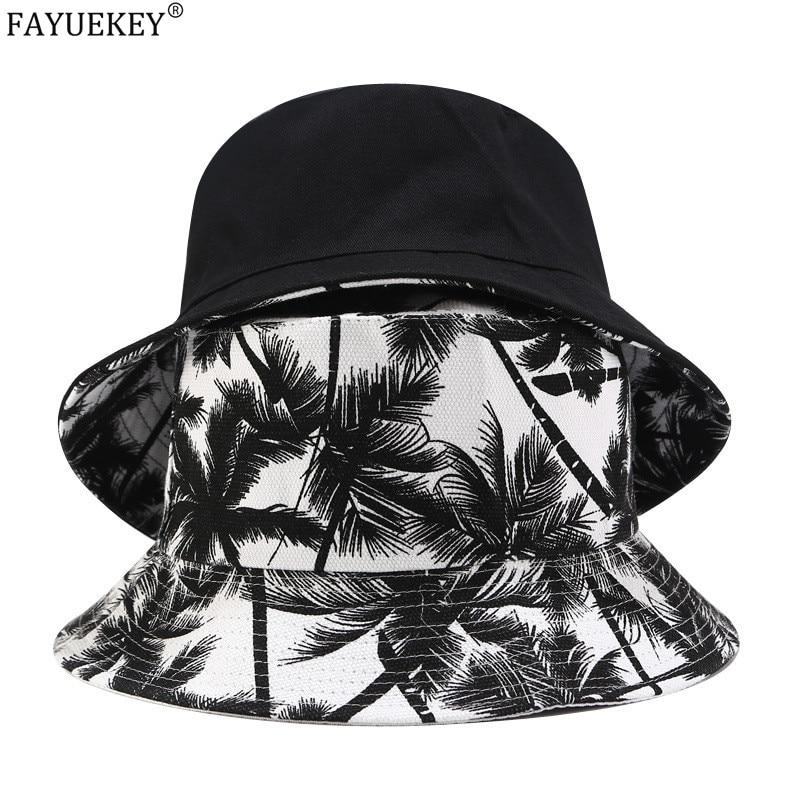 2020 New Fashion Summer Reversible Black White Coconut Tree Printed Fisherman Caps Bucket Hats Unisex Gorro Pescador Men Women