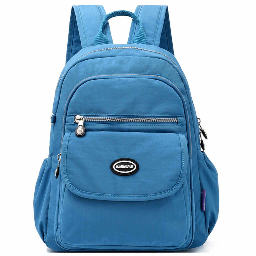 Женский рюкзак, Одноцветный, простой, водонепроницаемый, большой, вместительный, Повседневный, светильник, на молнии, рюкзак, для улицы, дорожная сумка