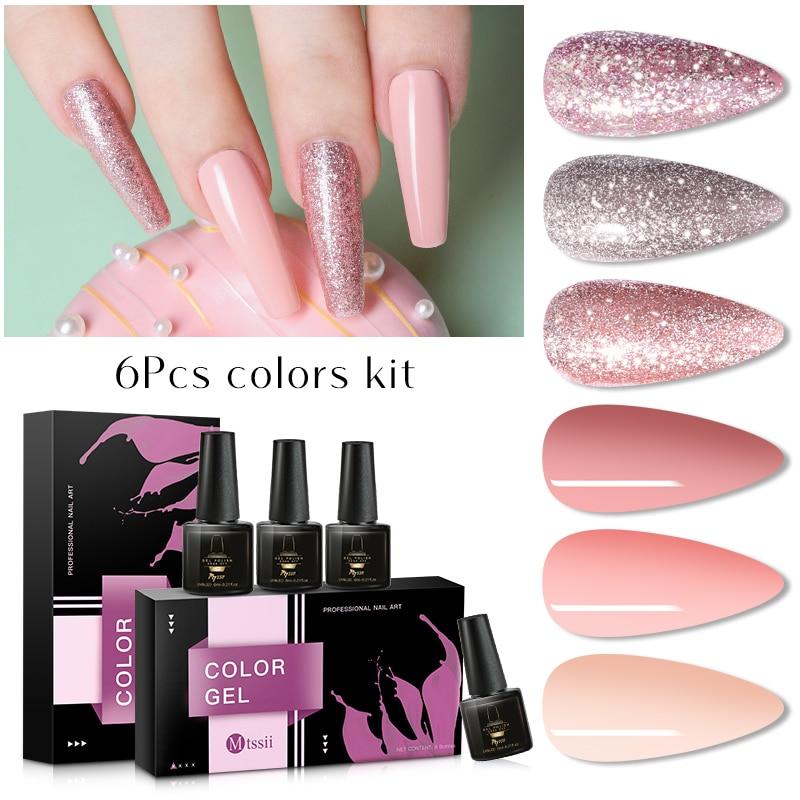 Mtssii 6 Pcs Color Nail Gel Polish Set UV Vernis Semi Permanent Soak Off Gel Varnish Nail Art Kit Manicure Gel Lak Polish