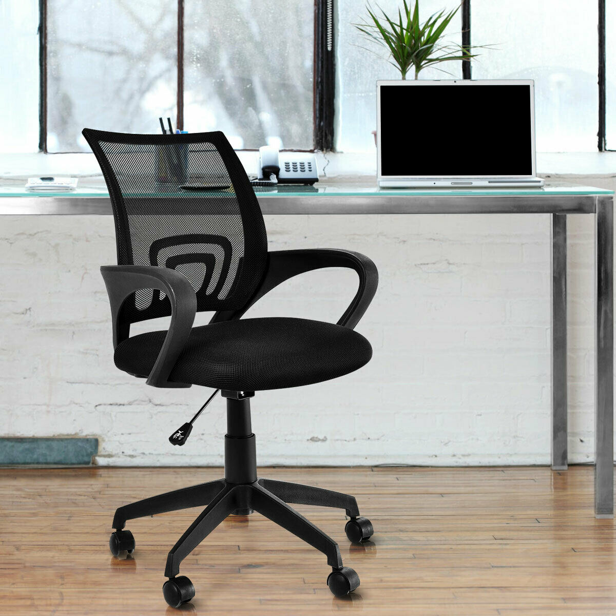 Costway Black Ergonomic Mid-back Mesh Computer Office Chair