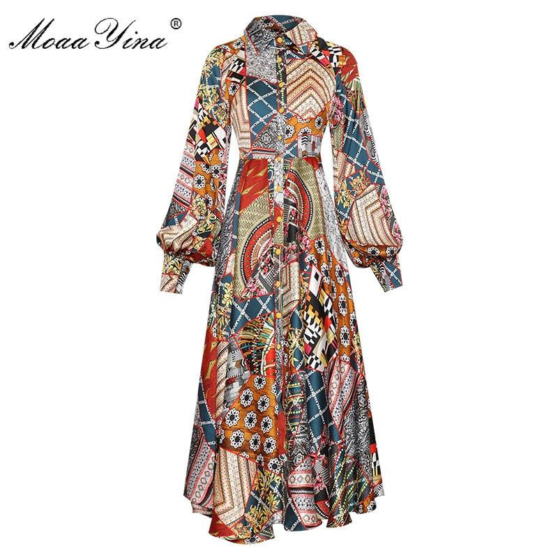 MoaaYina Designer Women Spring Summer Lapel Single Breasted Lantern Long Sleeve Vintage Print Dress
