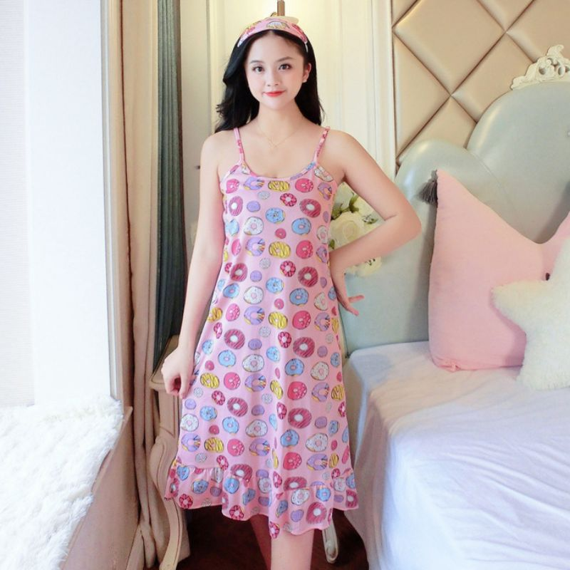 Summer New Nightdress Multicolor Printing Suspender Dress Girl Sweet Home Sleepdress Sleepwear Spaghetti Strap Sleeveless EFINNY