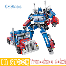 Robots Transformation 833PCS 2in1 Optimus Transform Prime Robots Cars Direct deformation War Building Blocks Models Car Trucks znatok robots