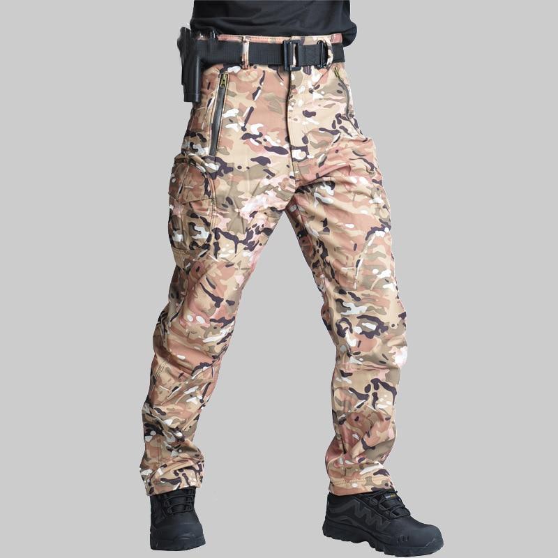 Men Camouflage Pants Waterproof Windproof Outdoor Hiking Climbing Pants Men Fleece Trousers Military Army CS Hunting Pant