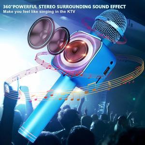 Image 2 - 4 w 1 LED Lights Handheld przenośne Karaoke mikrofon domowy odtwarzacz KTV z funkcją nagrywania kompatybilny z urządzeniami z systemem Android i iOS