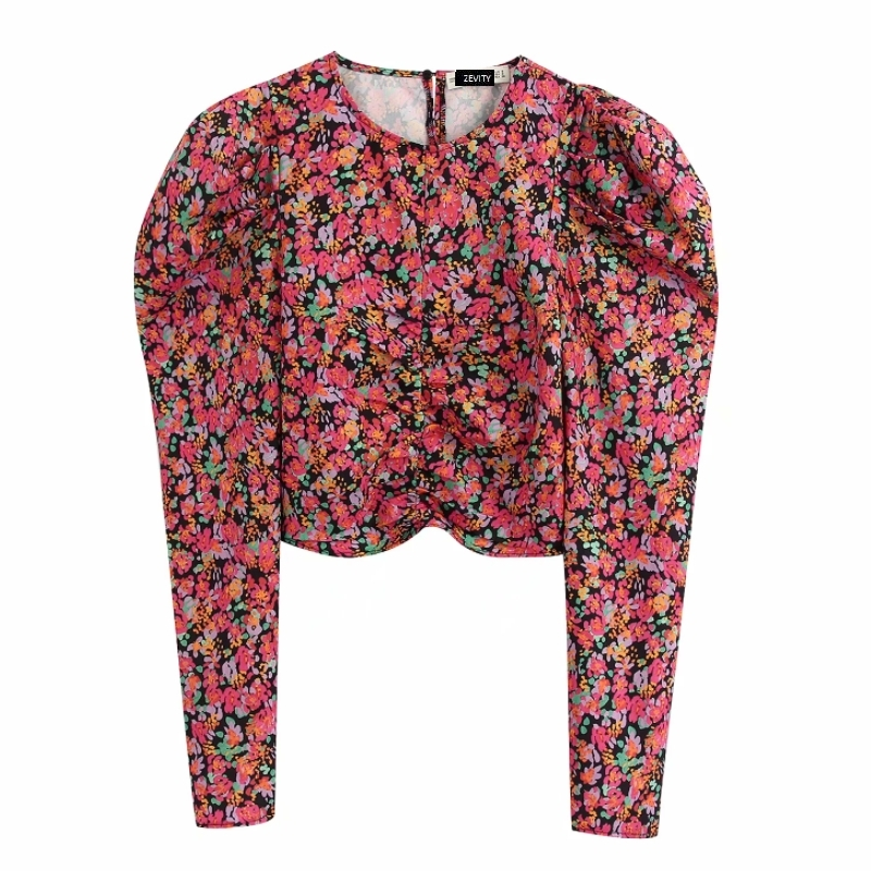 New Women Fashion O Neck Flower Print Pleat Puff Sleeve Shirt Office Lady Spring Pleated Blouses Roupas Chic Chemise Tops LS6339