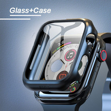 Case+Glass For Apple Watch 5 44mm 40mm iWatch 42mm 38mm 3D 9H bumper cover+Screen