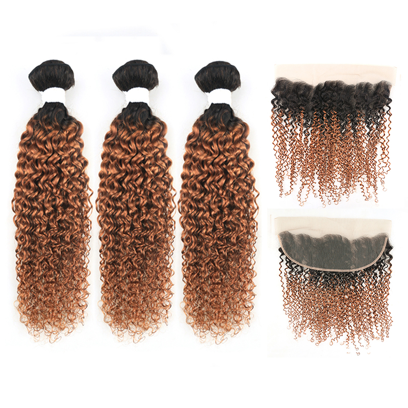 Brazilian Brown Kinky Curly Hair Bundles With Frontal 13*4 KEMY HAIR T1B/30 Human Hair Weave Bundles With Closure Non-remy 3 PCS