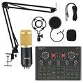 BM800 микрофон внешняя звуковая карта игровой для пения студийный пк телефона караоке система стойка микрофона компьютера usb компьютеры игро...