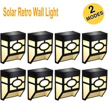 Outdoor Solar Wall Lights 2 Modes Solar LED Waterproof Lighting for Deck Fence Patio Front Door Stair Yard Warm / White Color