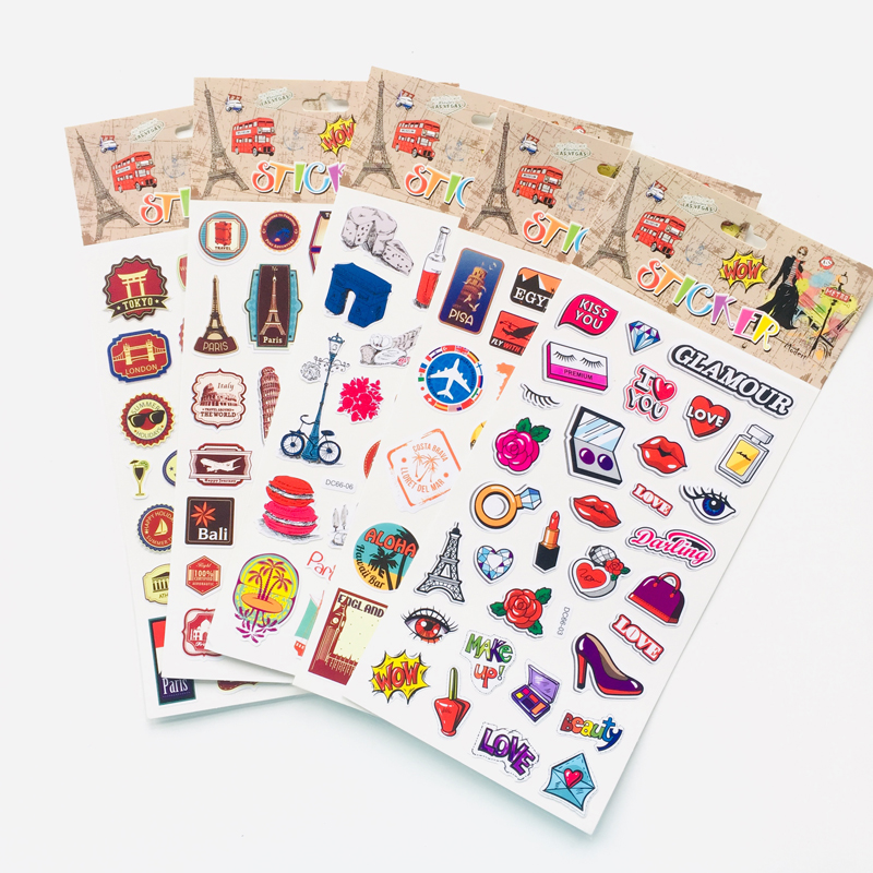1 Sheet Stylish Travel World Country Decorative Stickers Notebook Computer Decor