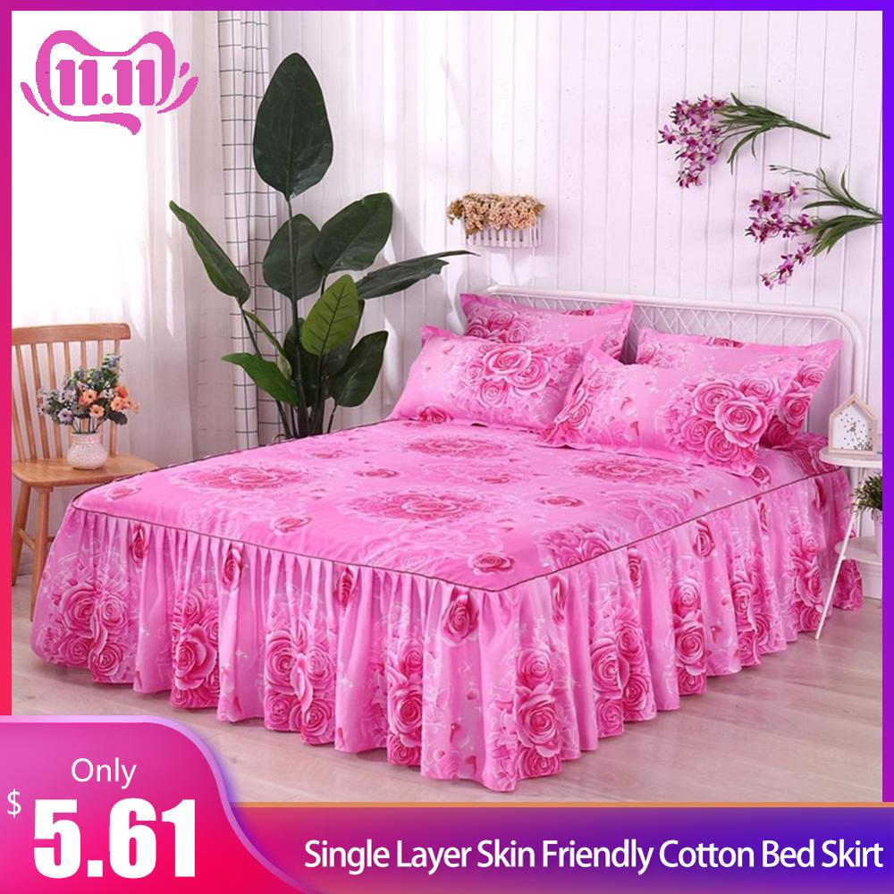 Bed Skirt Queen Size Single-Layer Skin-Friendly Cotton Bedspread 3PCs/Set 1 Bedspread 2 Pillowcases Rose Lover Series 1.5*2M #4O
