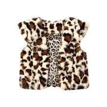 Emmababy, милый теплый жилет с леопардовым принтом для маленьких девочек, куртка, меховой жилет