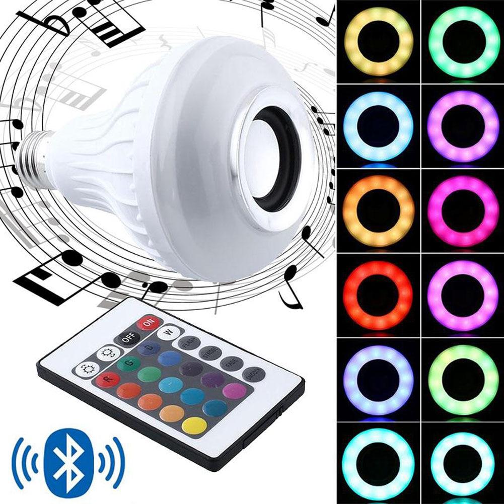 Wireless E27 Bluetooth 3.0 Audio Speaker RGB Color White Bulb Music Lamp