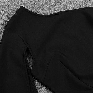 Image 5 - Ocstrade Summer Sexy Thigh Slit One Shoulder Bandage Dress 2020 New Arrival Women Black Bandage Dress Bodycon Club Party Dress