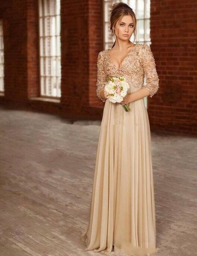 Champagne Long Chiffon Maternity Evening Formal Gown 2018 Lace Pearl Beaded Three Quarter Sleeve Mother Of The Bride Dresses