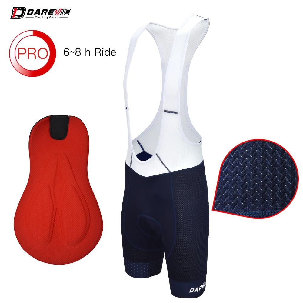 Darevie cuissard à bretelles de cyclisme hommes respirant Pro cuissard à bretelles antichoc 3D éponge pantalon de cyclisme 7cm bande de jambe 6 heures de trajet