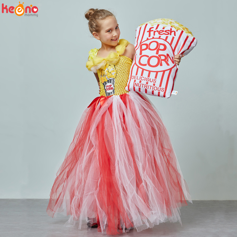 Circus Popcorn Girl Tutu Dress Carnival Birthday Party Wedding Flower Sequin Ball Gown Costume Kids Pop Corn Food Tulle Dress 1