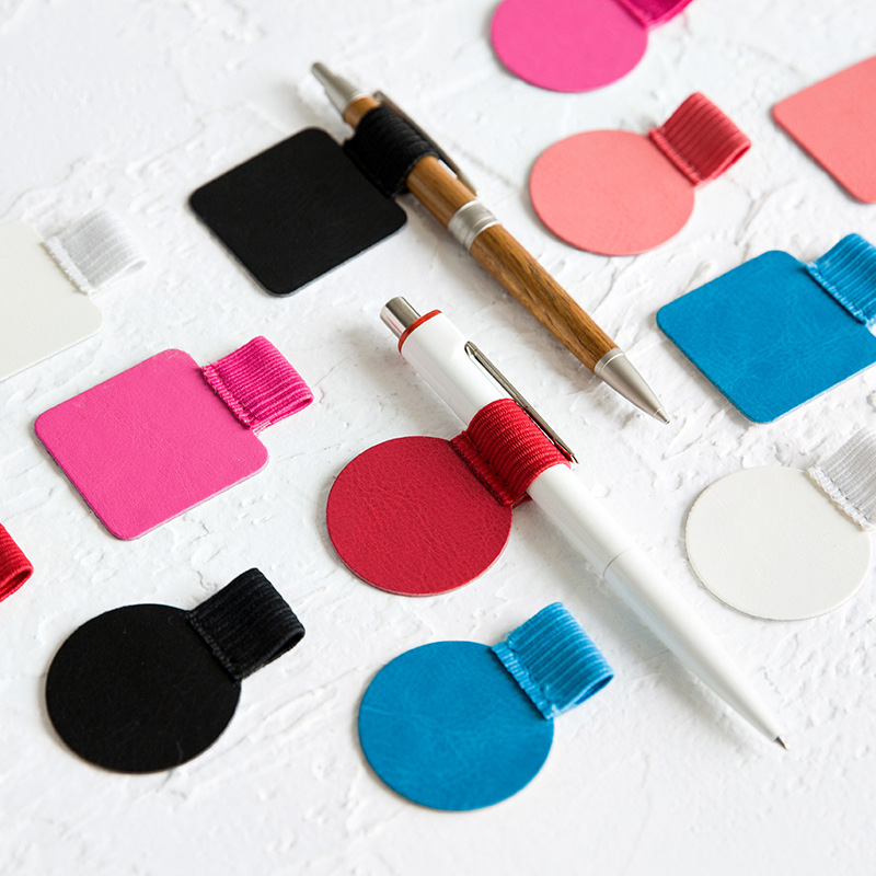 Self-Adhesive PU Leather Pen Clip Pencil Elastic Loop For Notebooks Journal Round Square LHB99