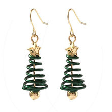 Korean Earrings Creative Spiral Christmas Tree Star Long Women Drop Earring Trendy Dangle Earring Fashion Jewelry Christmas Gift