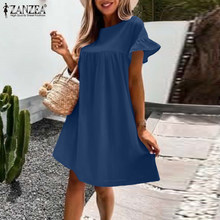 Holiday Loose Kaftan Summer O Neck Mini Dress ZANZEA Casual Solid Short Ruffles Sundress Women Vintage Maxi Plus Size Vestidos
