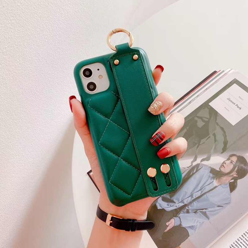 Lingge Lambskin Wristband Bracket Case for iphone 11 Pro Max 11 Pro 11 All-inclusive for iphone 6 6S 7 8Plus Cover