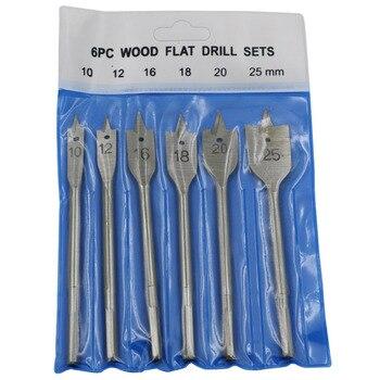 цена на 6pc Wood Flat Drill Sets 10mm 12mm 16mm 18mm 20mm 25mm Paddle Flat Wood Boring Drill Bit Set Power Tools With Hex Shank