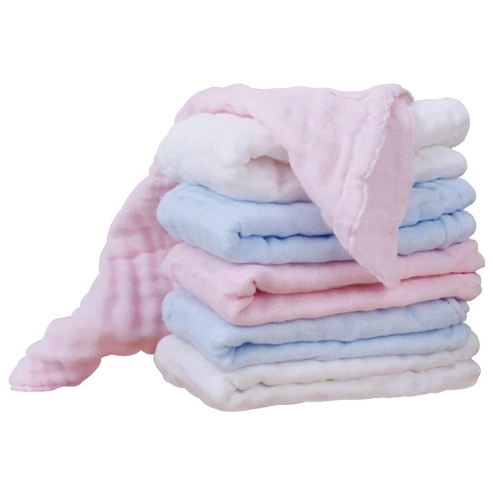 6 Pcs Nursing Towel Pure Cotton Gauze Feeding Towel Versatile Handkerchief Facecloth Kerchief For Baby Infant (White, Blue, Pink
