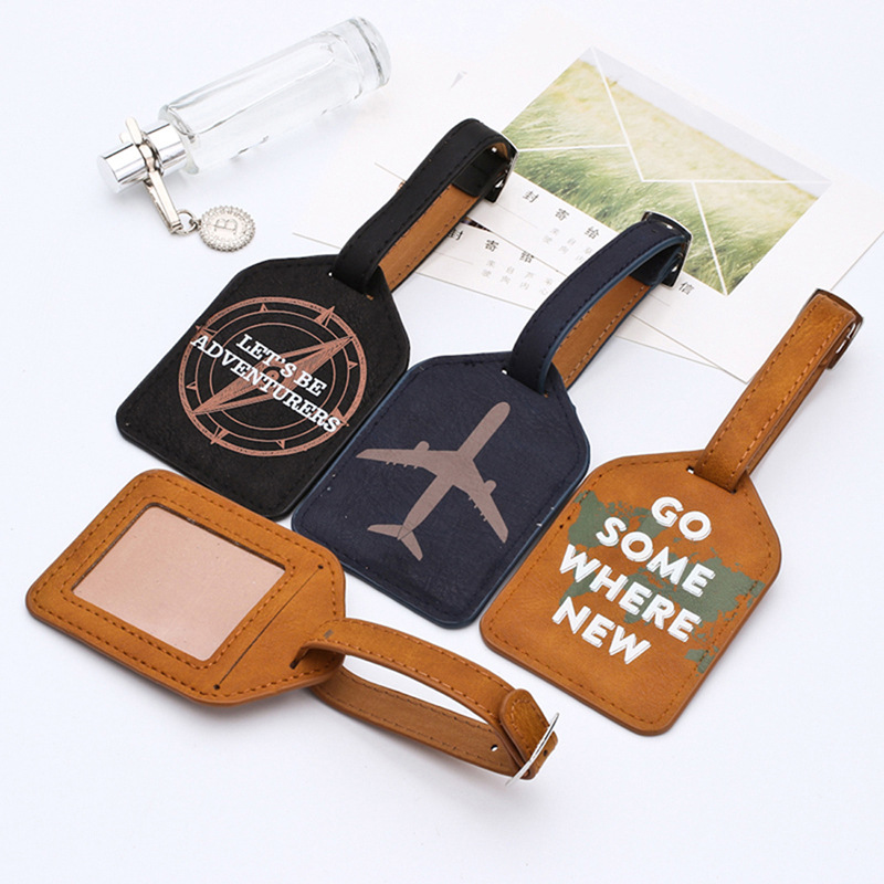 2020 New Fashion Leather Suitcase Luggage Tag Label Bag Pendant Handbag Portable Travel Accessories Name ID Address Tags image