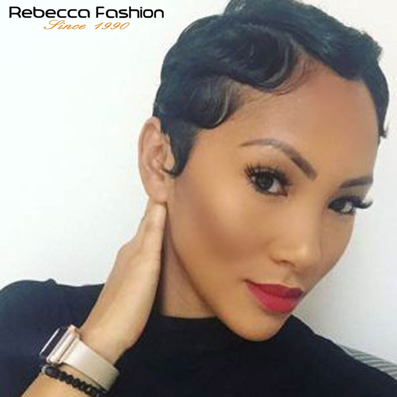 Rebecca Human Hair Wigs Brazilian Remy Hair Short Wavy Wave Wigs For Black Women Short Retro Cut Wigs Human Hair Short Bob Wigs