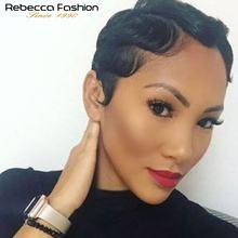 Rebecca Human Hair Wigs Brazilian Remy Hair Short Wavy Wave Wigs For Black Women Short retro cut Wigs Human Hair Short Bob Wigs