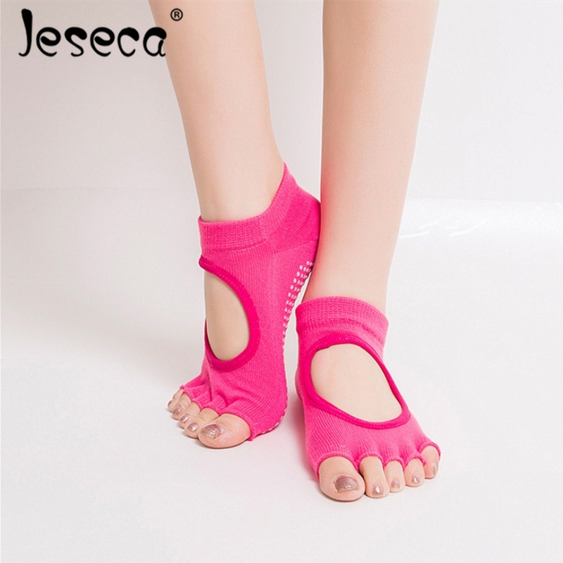 Jeseca New Women Funny Socks Backless Five Toe Anti-Slip Ankle Grip Socks Dots Pilates Fitness Gym Socks Ladies Sports Socks