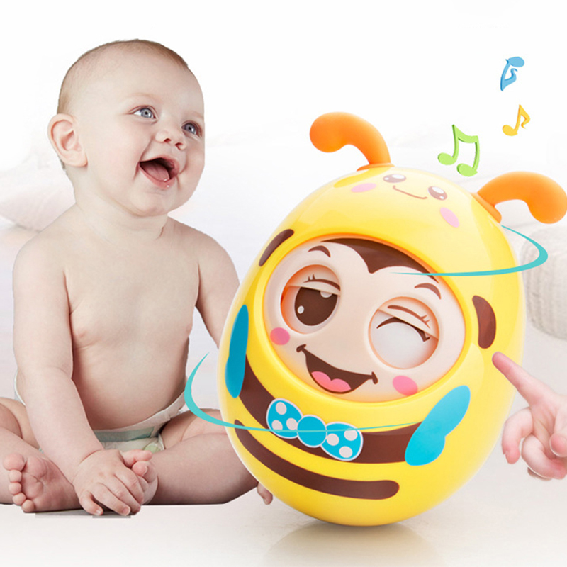 Safe ABS Materials Teether Cartoon Round Blink TumblerEarly Education Toys For Baby Music Rattle Toy For Kids