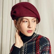 цена на Sedancasesa Australian Wool Felt Beret Hat Women British French Lady Artist Flat Cap Bow Boina Feminino Hats For Girls Berets