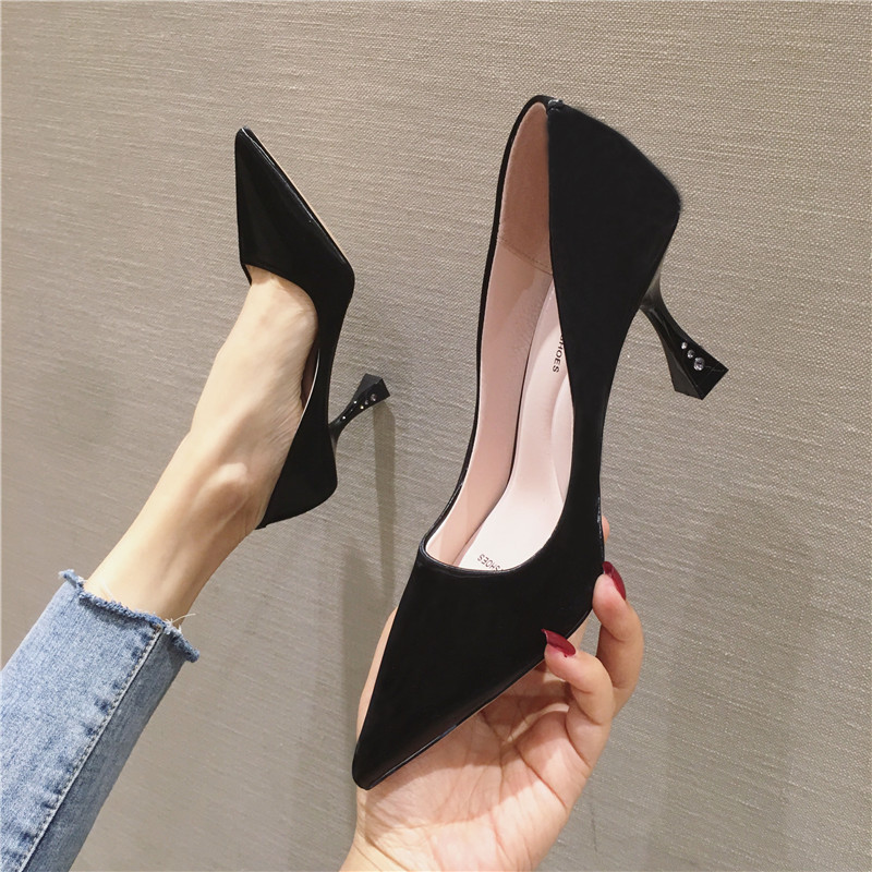 2020 New Women Pumps Classic High Heels Ladies Shoes Fashion Wedding Shoes Stiletto Flock Shallow Mouth Party Pointed Shoes