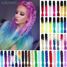 Braiding Jumbo Rainbow-Colors Long Ombre Synthetic 24inch AZQUEEN Resistant