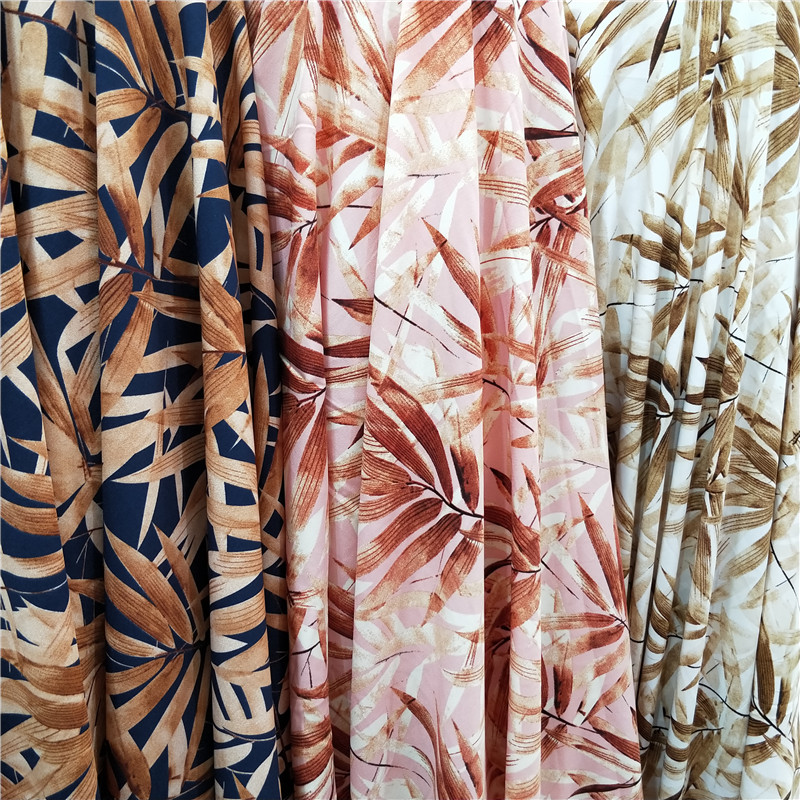 150cm * 100cm Chinese Style Bamboo Flower Printing Impervious Fabric Shirt Short Skirt Dress European American Style Soft Fabric