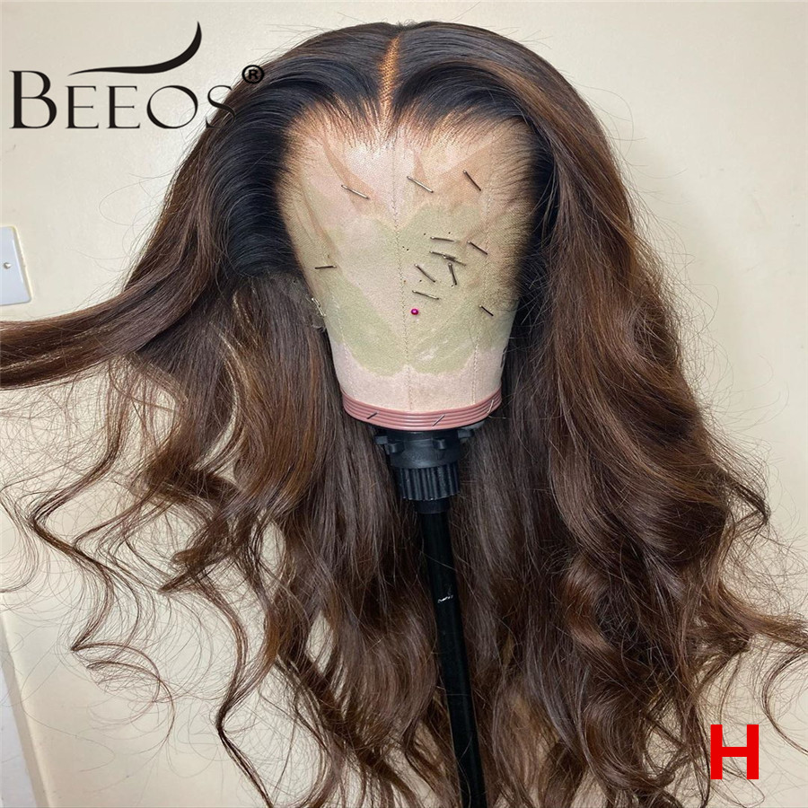 360 180% Colored Human Hair Wigs Brown Color Wigs Long Body Wave Remy Preplucked Ombre Brown Lace Front Wig Bleached Knots