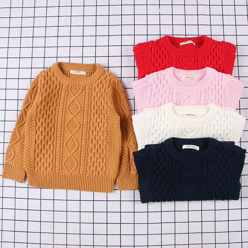 2020 New Children's Knitted Round Neck Sweater Baby Boy Girl Sweaters Solid Color Autumn Winter Cable Pullover 1-7 Years Child 1