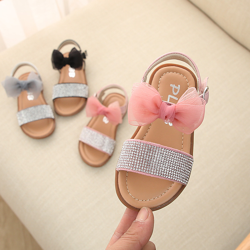 2020 New Girls Summer Children's Sandals 0-1-3 Years Old Princess's Rhinestone Bowknot Shoes With Soft Soles Anti Slip