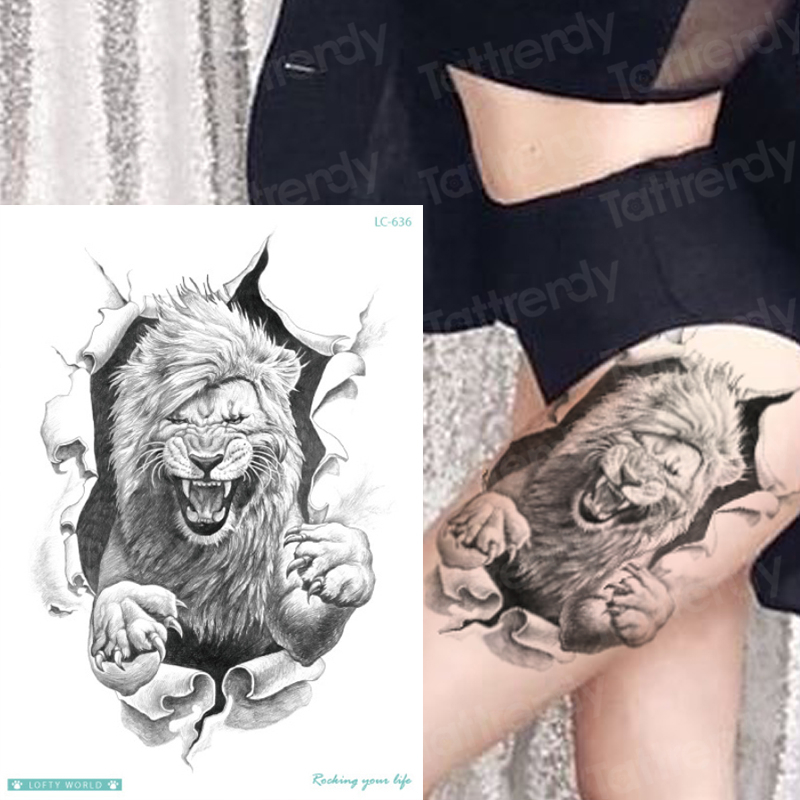 Tattoo & Body Art Lion Tattoos Designs Waterproof Tattoo For Woman Man Male Model Tattoos Animals On Legs Back Thigh Boys Girls