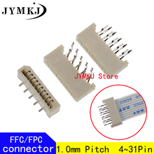 10PCS 1.0mm FPC/FFC Connector LCD Flexible Flat Cable Socket Double Row 4 5 6 7 8 9 10 11 12 14 16 18 20 22 24 26 28 30 31 Pin