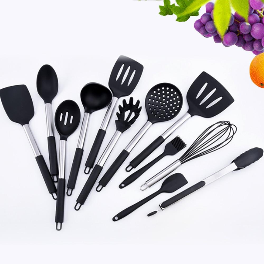 26PCS Silicone Shovel Kitchenware Set Cooking Utensils Non Stick Spatula Kit Stainless Steel Handle Baking Tools