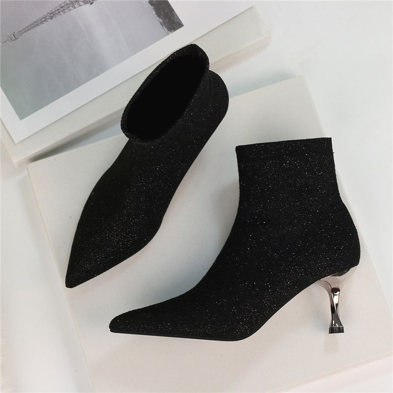 US $21.98 39% OFF|2020 Winter Spring Sparkly Sock Boots Low High Heel Ankle Boots Luxury Women Desiger Glitter Short Boots Plus Size Party Shoes on