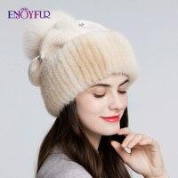 ENJOYFUR Mink fur knitted wool hats for women winter thick warm slouchy beanies female caps with fox fur pom pom