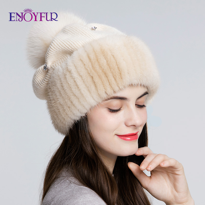 ENJOYFUR Mink Fur Knitted Wool Hats For Women Winter Thick Warm Slouchy Beanies Female Caps With Fox Fur Pom Pom
