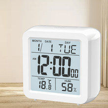 Digital desktop LCD Snooze wecker kinder nacht wake up mit hintergrundbeleuchtung & Thermometer & Hygrometer für home office(China)