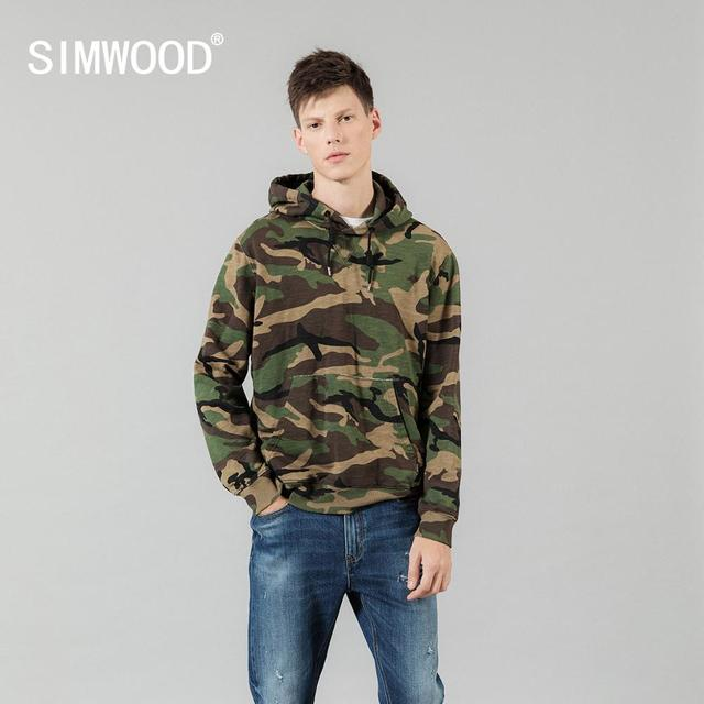 SIMWOOD 2020 spring winter hooded Camouflage hoodies men fashion sweatshirts jogger track clothes plus size streetwear SI980675