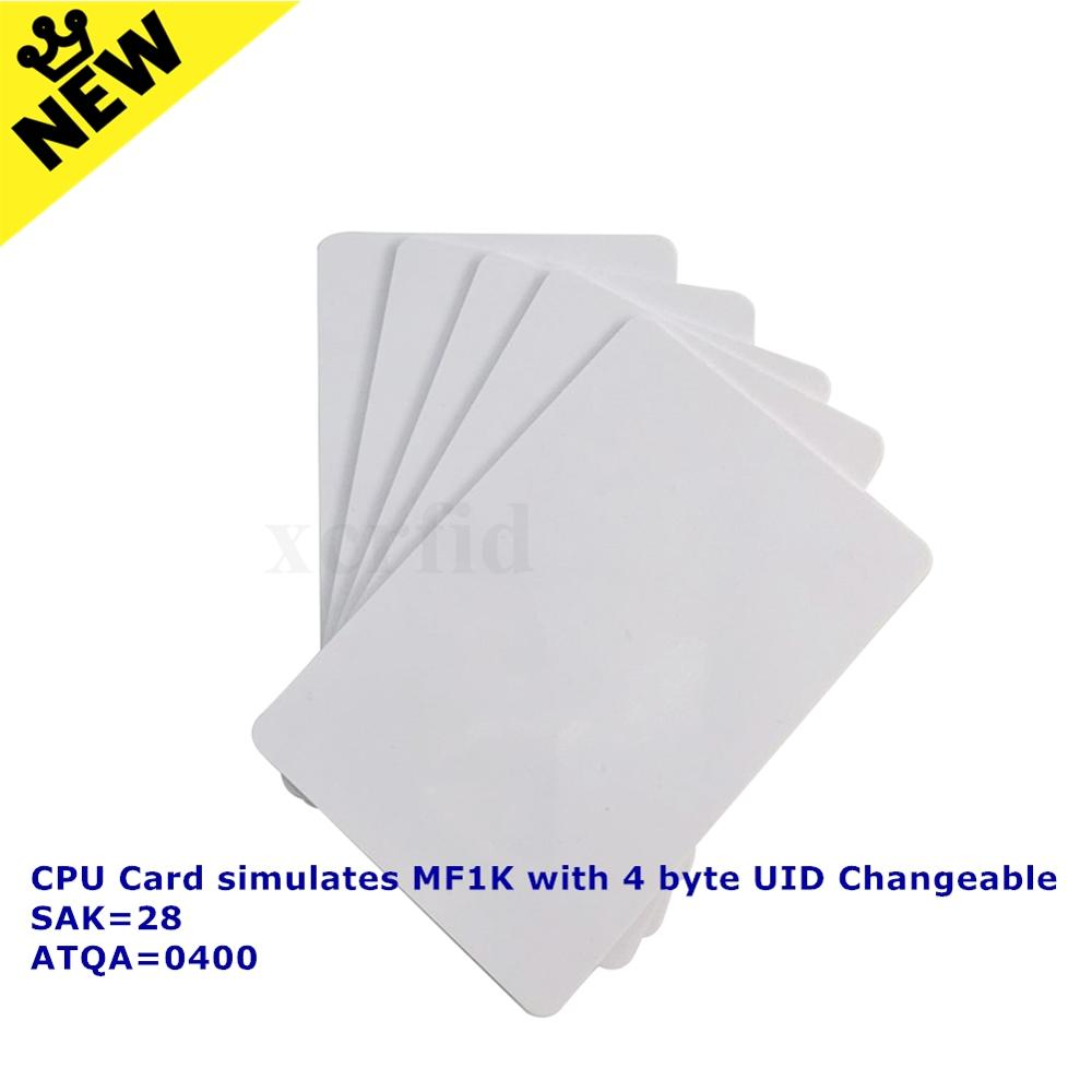13.56Mhz CPU Simulate MF1K With 4byte UID Changeable SAK=28 ATOA=0400 Smart IC RFID Card For ACR122U-A9