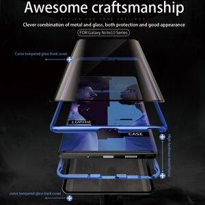 Image 4 - Adsorpcja magnetyczna do Samsung Galaxy Note 10 Plus obudowa metalowa rama dwustronne szkło hartowane Ultra Slim, odporna na wstrząsy pokrywa